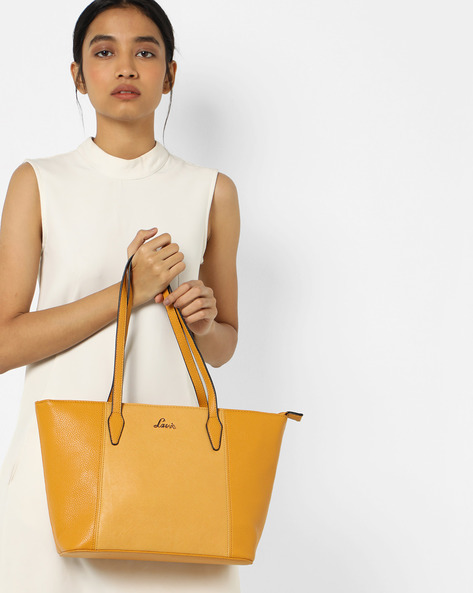 Maks Textured Tote Bag By Lavie ( Yellow )