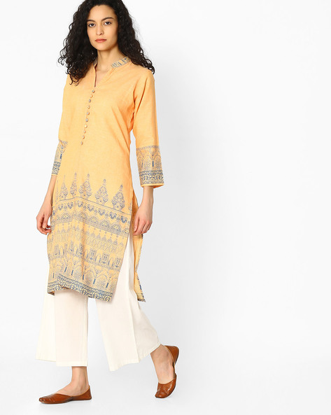 Straight Kurta With Printed Panels By Mmantra ( Peach )