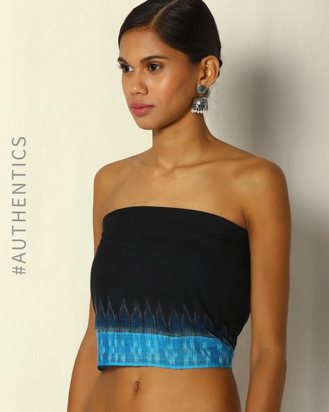 Handwoven Sambalpuri Ikat Cotton Plain Blouse Material With Border By Indie Picks ( Black ) - 460084490001