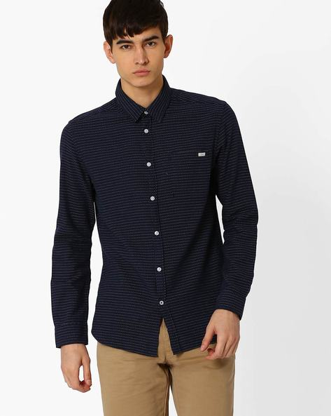 Slim Fit Shirt With Dotted Stripes By Jack & Jones ( Navy )