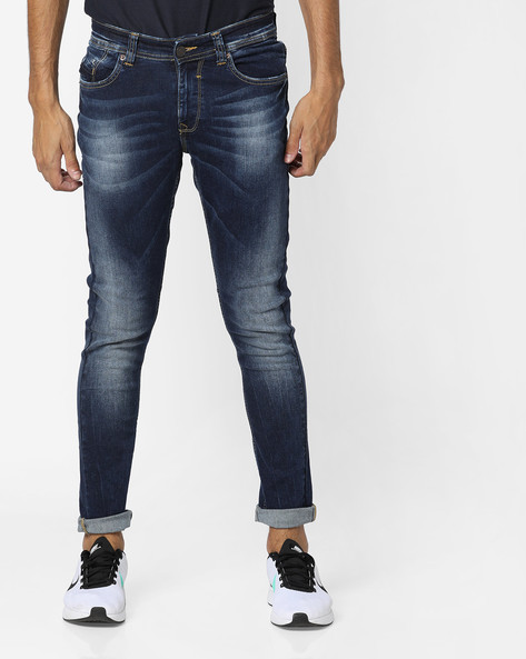 Heavy-Wash Slim Fit Jeans By SPYKAR ( Dkblue )