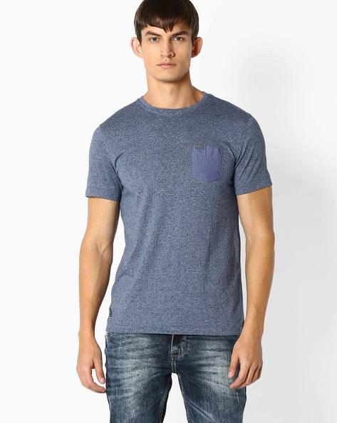 Round Neck T-shirt With Chest Pocket By TEAM SPIRIT ( Blue )