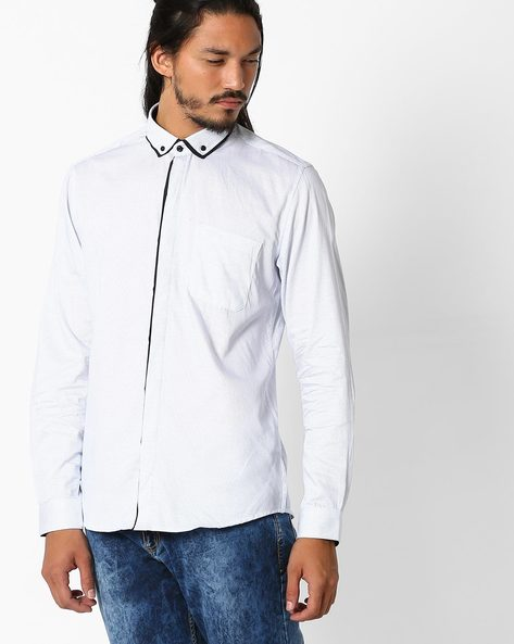 Printed Cotton Shirt By NETPLAY ( White )