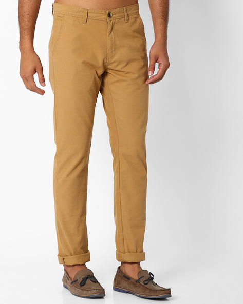 Mid-Rise Tapered Fit Chinos By NETPLAY ( Khaki ) - 440690782041