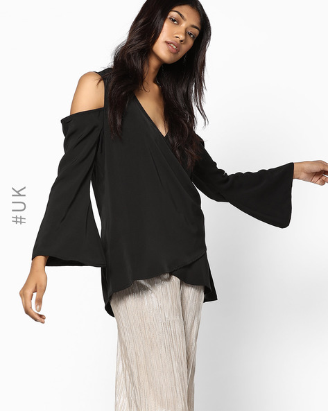 Cold-Shoulder Top With Flared Sleeves By NEON ROSE ( Black )