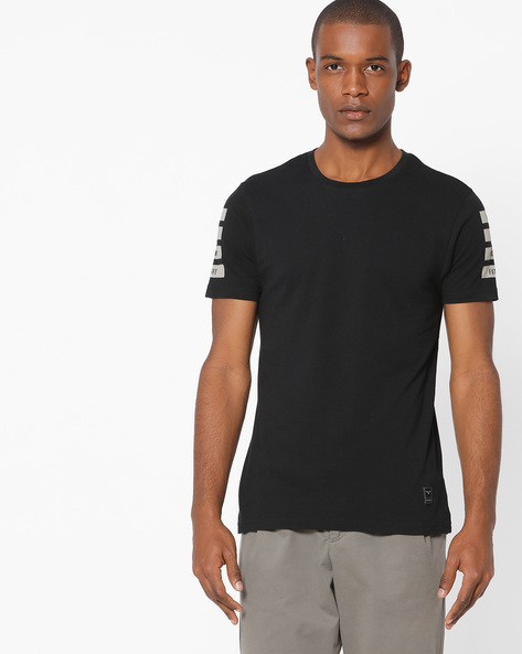 Cotton T-shirt With Printed Back By FLYING MACHINE ( Clearblack )