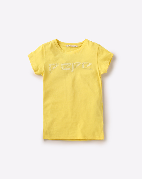 Printed Cotton T-shirt By PEPE ( Yellow )