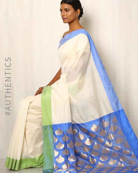 Handwoven Pure Silk Cotton Chanderi Saree By Indie Picks ( Cream ) - 460037172001