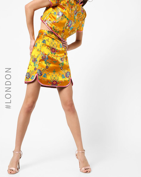 Floral Print A-line Mini Skirt By Glamorous ( Yellow )