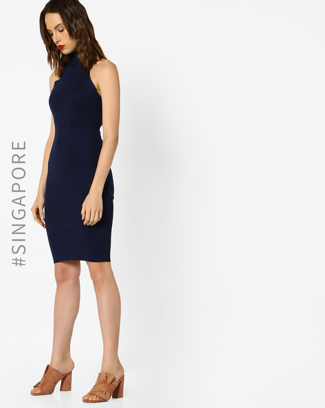 High-Neck Bodycon Dress By MDS ( Blue )