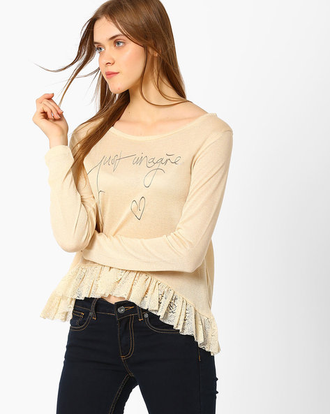 Knitted Top With Lace Frill By RIO ( Beige )