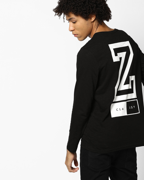 Crew-Neck T-shirt With Printed Back By AJIO ( Black )