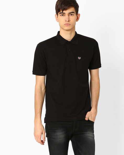 Polo T-shirt With Patch Pocket By DUKE ( Black )