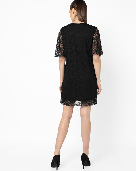 Lace Dress With Floral Embroidery By OEUVRE ( Black )