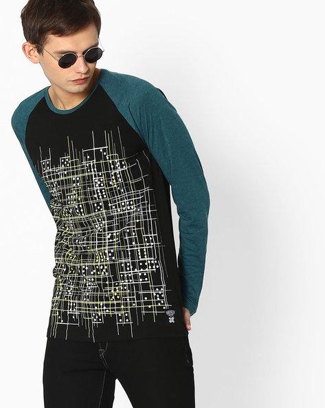 Printed T-shirt With Raglan Sleeves By KULTPRIT ( Black )