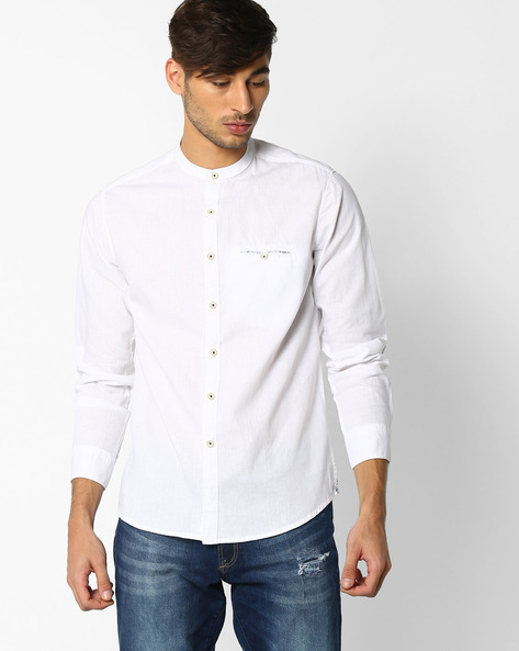 Regular Fit Shirt With Welt Pocket By NETPLAY ( White )