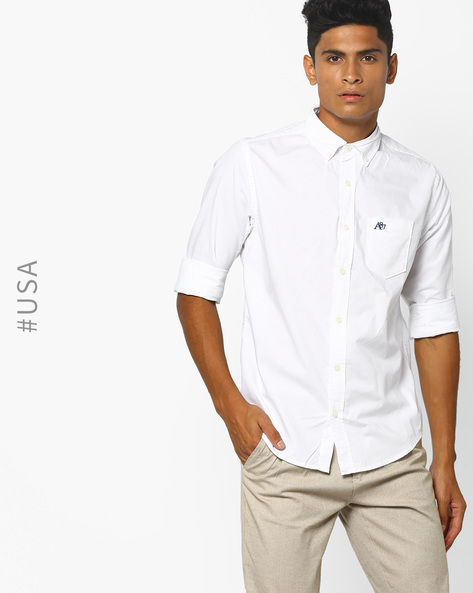 Button-Down Shirt With Patch Pocket By Aeropostale ( White )