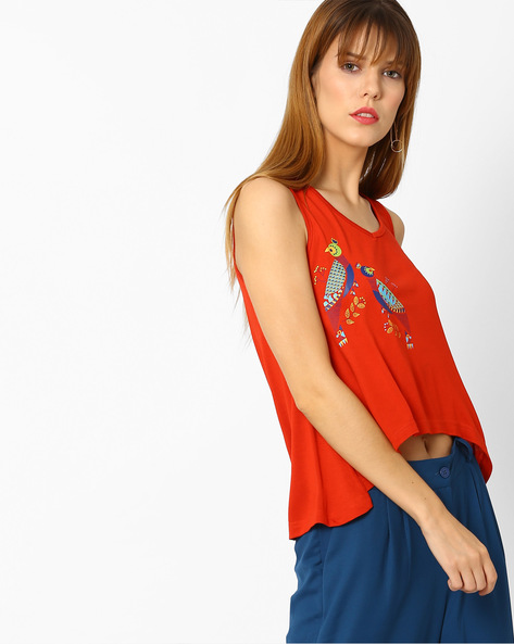 Sleeveless Top With High-Low Hem By Global Desi ( Rust )