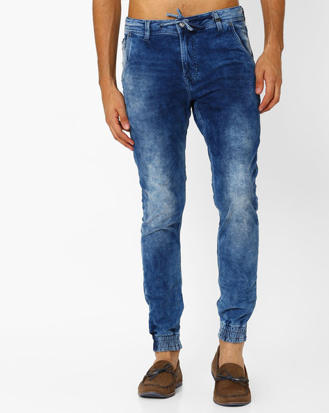 Lightly Washed Slim Fit Joggers By Killer ( Indigo )