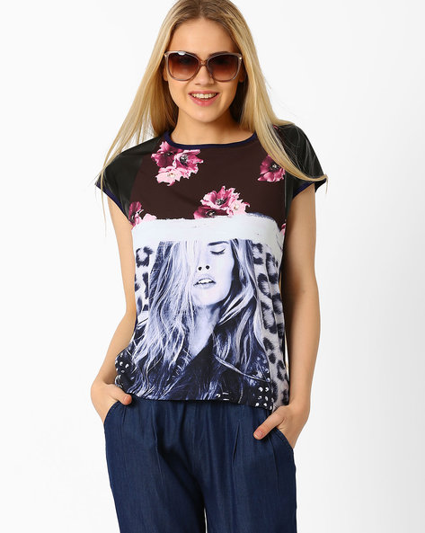 Graphic Print Top By SF Jeans By Pantaloons ( Blue )