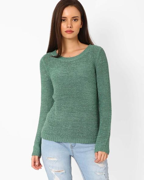 Open-Knit High-Low Sweater By Only ( Blue )