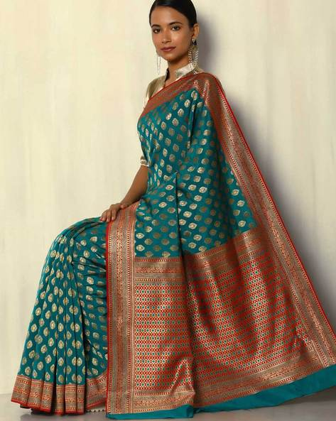 South Silk Thousand Buta Saree With Zari Border By Pretty Woman ( Green )