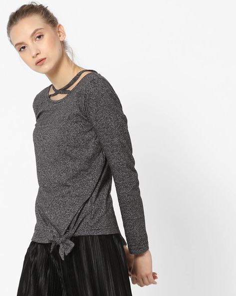 Heathered Top With Side Tie-Up By ANONYMOUS CO ( Black )