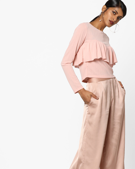Ribbed Top With Ruffle Panel By Ginger By Lifestyle ( Pink )