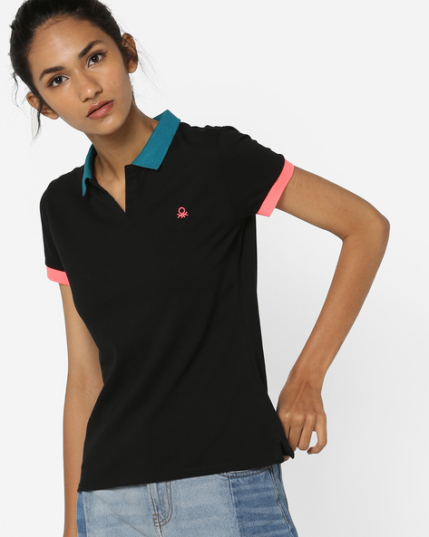 Polo T-shirt With Contrast Hems By UNITED COLORS OF BENETTON ( Black )