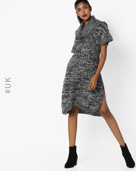 Knitted Dress With Cowl Neck By INFLUENCE ( Grey )