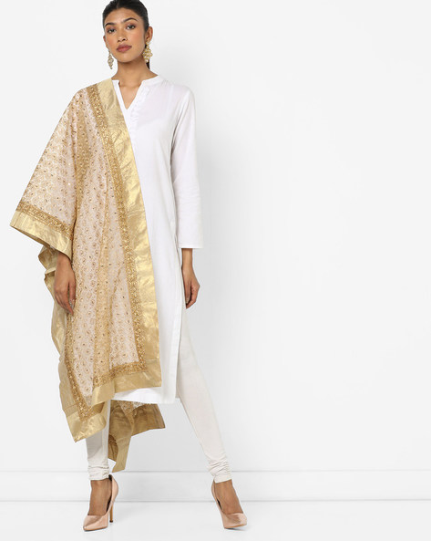 Embroidered Dupatta With Contrast Border By Dupatta Bazaar ( Gold )
