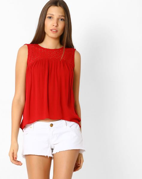 Pleated Top With Lace Panel By Only ( Red )