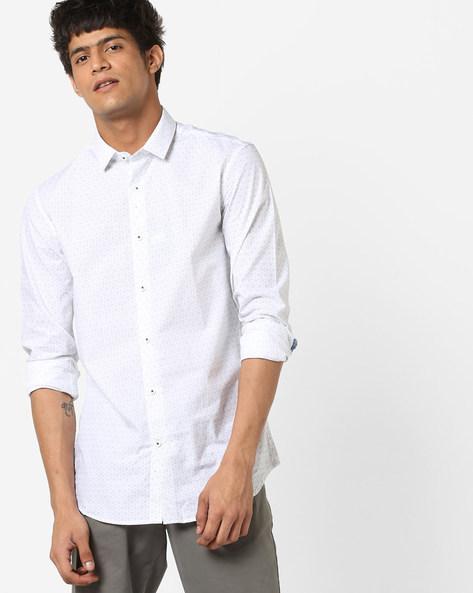 Micro Print Cotton Shirt By US POLO ( White )