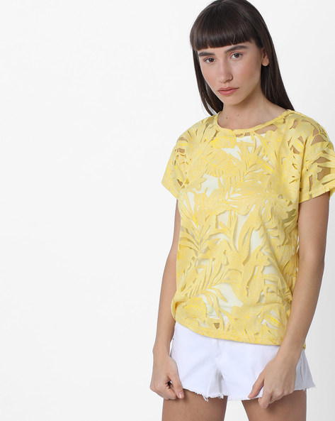 Leaf Print Sheer T-shirt With Drop Shoulders By FIG ( Yellow )