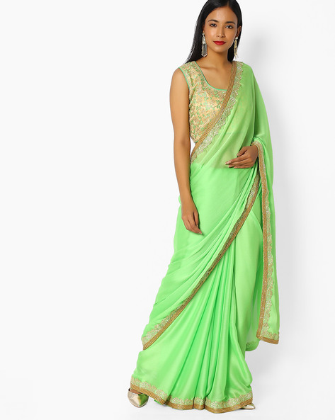 Chiffon Embroidered Saree With Blouse By Majestic Silk ( Green )
