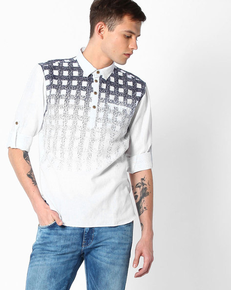 Printed Slim Fit Shirt By The Indian Garage Co ( Blue )
