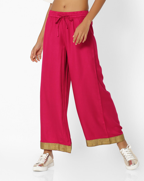 Palazzo Pants With Contrast Taping By AVAASA MIX N' MATCH ( Wine )
