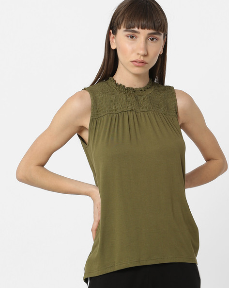 Sleeveless Top With Smocked Yoke By DNMX ( Olive )