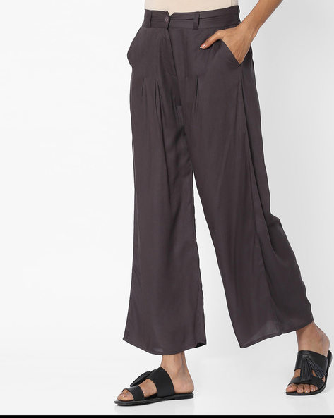 Palazzo Pants With Elasticated Back-Waist By W ( Ltgrey )