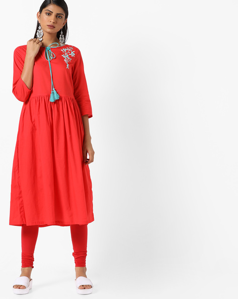 Flared Kurta With Placement Embroidery By AJIO ( Red )