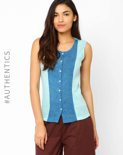 Sleeveless Khadi Top By Red Sister Blue ( Blue ) - 460011651002