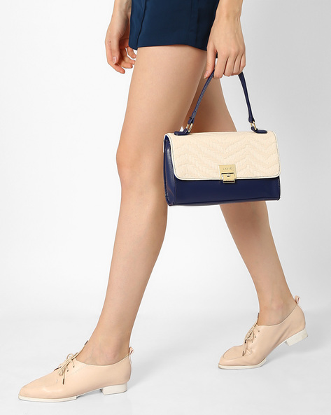 Colourblock Sling Bag With Top Handle By Lavie ( Navyblue )