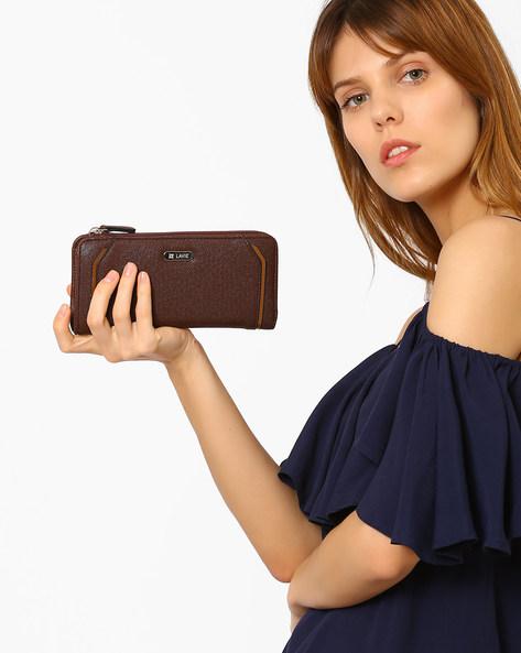 Textured Zip-Around Wallet By Lavie ( Brown )