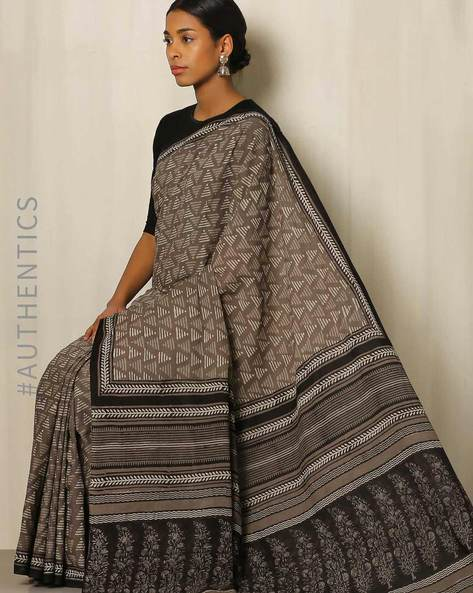 Bagru Handblock Print Cotton Saree By Indie Picks ( Grey )