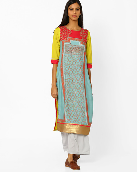 Printed Straight Kurta With Contrast Hems By W ( Green )