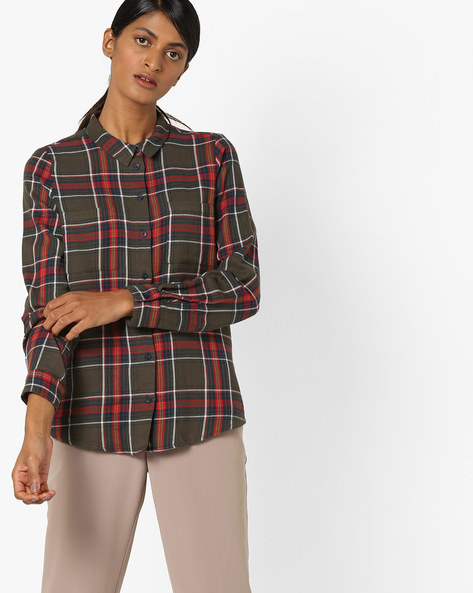 Checked Shirt With Printed Back By Only ( Green )
