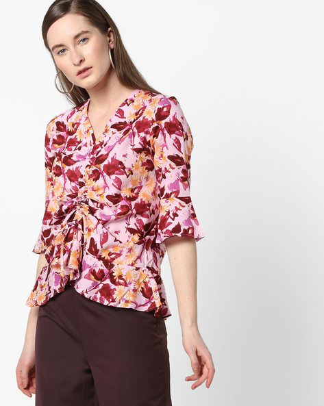Floral Print Top With Bell Sleeves By AJIO ( Pink )