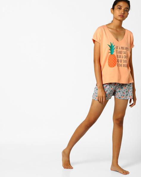 Printed Lounge T-shirt With Shorts By Slumber Jill ( Greymelange )