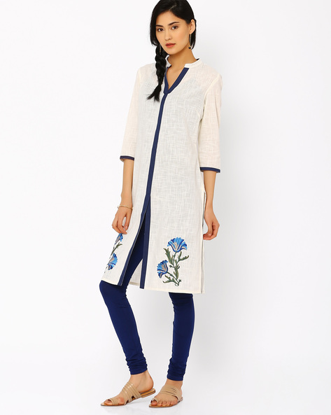 Kurta With Mandarin Collar By AJIO ( Offwhite )