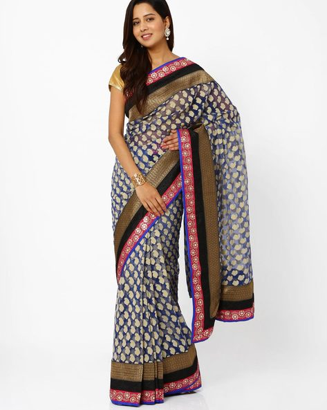 Net Saree With Brasso Work By Vishal Prints ( Navyblue )